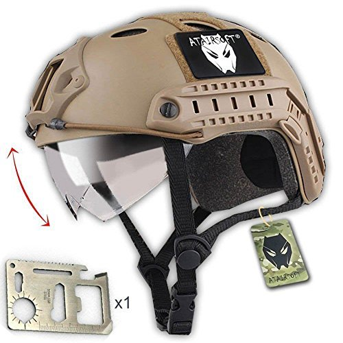 ATAIRSOFT PJ Type Tactical Multifunctional Fast Helmet with Visor Goggles Version DE + 1 x Multifunction Card