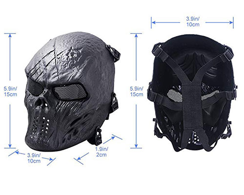 Coxeer Airsoft Mask Full Face Tactical Airsoft Mask Overhead Skull Mask Outdoor Hunting Cs War Game Mask
