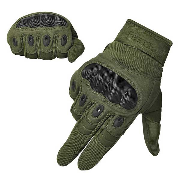 FREETOO Tactical Gloves Army Military Police Rubber Knuckle Outdoor Gloves for Men